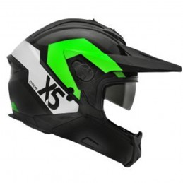 Capacete Bieffe X-5 Evolve Preto Fosco/ Verde