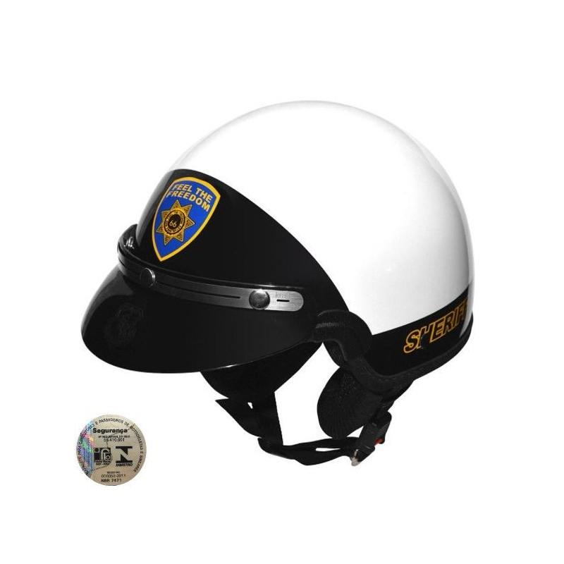 Capacete Kraft Custom Sheriff Branco