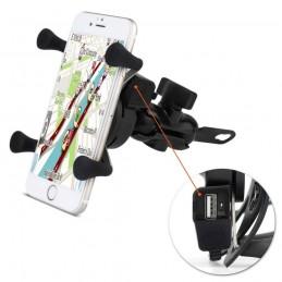Suporte E Carregador Gps Celular Para Moto Fixa Retrovisor