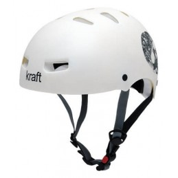 Capacete Kraft Bike / Skate Caveira Branco Fosco