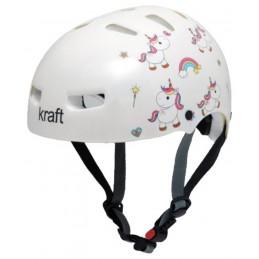 Capacete Kraft Bike/Skate Unicórnio Branco